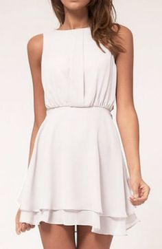 Dresses Style:Fashion Pattern Type:Solid Neckline:Round neck Sleeve Style:Tank Sleeve Length:Sleeveless Dresses Silhouette:A Line Material:Chiffon Dresses Leng… Beige Mini Dresses, Little White Dresses, Pretty Outfits, Pretty Dresses, Beautiful Outfits, Beautiful Clothes, Fashion Mode, Fashion Beauty, Fashion Outfits
