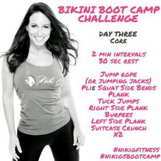 Niki G's Bikini Boot Camp At Home HIIT Workouts Day 3 -Core