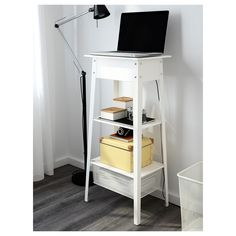 IKEA PS 2014 Standing laptop station IKEA Cable outlets for easy cable management. Ikea Ps 2014, Minimalist Home Interior, Minimalist Decor, Office Items, Home And Living, Home Office, Small Spaces, Living Spaces, Mesas De Luz