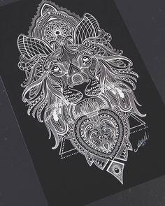 Mosaic Lion A3 prints available on my website:  Www.tattoogoldnz.com  @tattoogold_  #mosaicflow #tattoo #prints