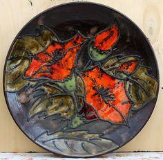 Grosser Keramik Wandteller von Ruscha - Handgemalt 717/3   Blumenmotiv   !!!