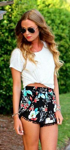 Floral Pom Pom Tullip shorts - ShopMaude