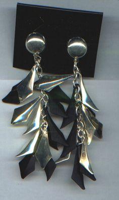 Ohrringe, Ohrhänger - Blätter (zweifarbig) - nickelfrei