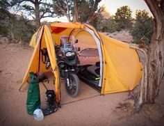 """Tenere Motorcycle Expedition Tent - With a BMW R1200 GSA. So my wife says,""""this is a two person tent, either that bike goes, or I do"""". I must confess, I still miss her from time to time."""