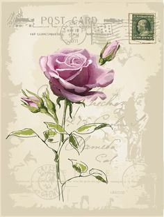 Vintage Postcard Background ~ MI BAUL DEL DECOUPAGE