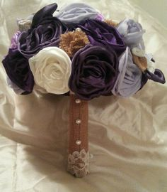 Fabric bouquet. Purple and burlap