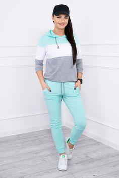 Dámska tepláková súprava s pruhmi mätová White Jeans, Normcore, Sporty, Pants, Style, Products, Fashion, Trouser Pants, Swag