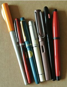 Pilot Parallel Pen, Noodler's Creaper, Pilot 78G, Pilot Prera, Lamy Safari, Pilot Handwriting Pen, Cross Solo~ lovely pens!