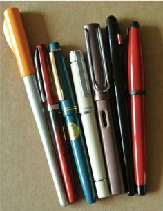 Pilot Parallel Pen, Noodler's Creaper, Pilot 78G, Pilot Prera, Lamy Safari, Pilot Handwriting Pen, Cross Solo~ lovely pens!