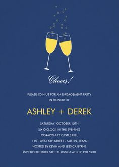 Champagne Toast Engagement Party Invitation - Perfect for engagement parties, or rehearsal dinners. Charm your guests, make it perfect for you! More at http://superdazzle.com