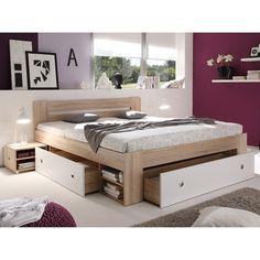 Bed met lades Stefan - Sonoma eikenhouten look/wit