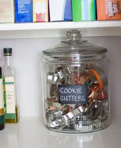 Pantry-organization. Love the cookie cutter storage. I'm definitely going to keep this in mind for the holidays.