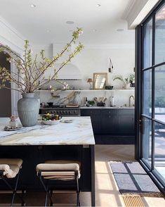 98 Wonderful Modern Kitchen Style 96 ~ Top Home Design Home Decor Kitchen, Kitchen Interior, New Kitchen, Home Kitchens, Modern Kitchens, Kitchen Counters, Kitchen Ideas, Earthy Kitchen, Dark Kitchens
