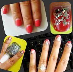 """I covered the """"grown-out"""" part of my gel manicure with glitter polish for a quick fix :)"""