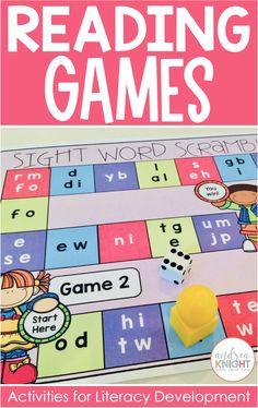 First Grade Reading Games, Games For Grade 1, First Grade Teachers, Kindergarten Teachers, Sight Word Games, Sight Words, Literacy Skills, Literacy Centers, Rhyming Words