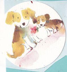 Animals Kids STICKER Round 2 Puppy Dogs with a Rose Scrapbooking Decal CUTE  #Handmade #Round