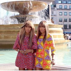 Dpipertwins in London wearing African print dresses from their collection #Africanprint #Dpipertwins #DanielleandChantelle