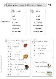 """Résultat de recherche d'images pour """"francais pdf verbe etre et avoir"""""""