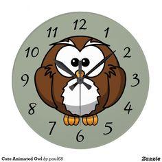 Cute Animated Owl Clocks