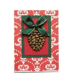 Christmas Holiday Card with a Pine Cone and a Bow by LadyBugCo