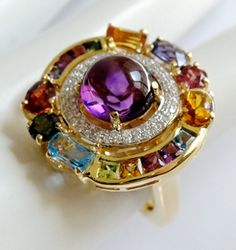 Bellarri Dutchess Ring wth Amethyst, Multi-Gemstones and diamonds