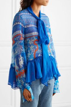 Mary Katrantzou - Transcendence Pussy-bow Printed Silk-chiffon Top - Blue - UK10