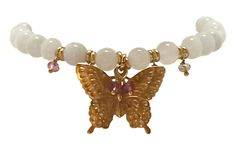 Bead Bracelets with Pink Tourmaline and Gold Butterfly Charm