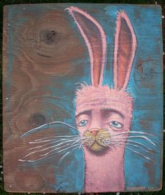 Pink rabbit art | brett superstar art: PINK SLEEPY RABBIT