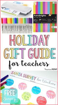 This holiday gift guide for teachers includes inexpensive gift ideas and stocking stuffers for those on a budget. They make the perfect gifts for kids to give their hard working educators at Christmas. Grab the FREE printable Santa survey and find out what is on your teacher's wishlist! #teachergifts #holidaygiftguide #christmasgifts #santasurvey Teacher Wish List, Best Teacher, Teacher Appreciation Gifts, Teacher Gifts, Teacher Sayings, Teacher Stuff, Holiday Gift Guide, Holiday Gifts, Christmas Gifts