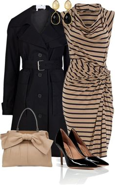 Classy dress and trench combo minus the prissy bag