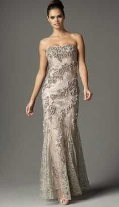 Alberto Makali - Strapless beaded lace gown