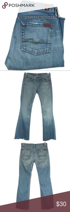 """A74 - 7 for all Mankind """"Flare"""" Raw Hem Jeans 7for all Mankind   Size on Tag: 28 Style: Flare Jeans Raw Hem Actual Measurements for this item laying flat: Waist:  15 Inseam: 30 7 For All Mankind Jeans Flare & Wide Leg"""