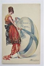 A/S Cherubini WOMAN in Fancy Red Gown with Giant Egg EASTER Postcard