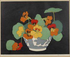 "John Hall Thorpe (British, 1874-1947) -  ""Nasturtiums"" - woodcut"