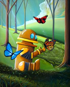 This whimsical cute robot has found some colorful butterflies in the woods.  Robots love nature you know.  This piece is available in print.  Art by Cindy Thornton. #robotart #artforkids