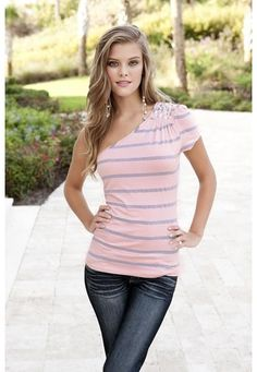 RHINESTONE ONE SHOULDER STRIPED TOP $16.90 at body central