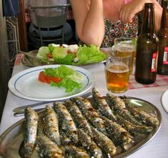 Grilled sardines - best served with a cold Portuguese bear like Superbock