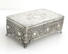 Antique silver plated box, bright cut engraving on top of lid, heavily embossed sides, decorative feet, Barbour Silver, US, Edwardian by CardCurios on Etsy