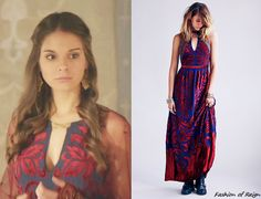 fashion-of-reign:  In the fourteenth episode Kenna wears this Free People Hedgehaze Maxi Dress in indigo combo ($550).  This dress is now on sale for $199.95!