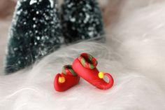 Mini Elf Shoes - Polymer Clay - Miniature Elf Shoes - Christmas Decor - Miniature Garden - Fairy Garden