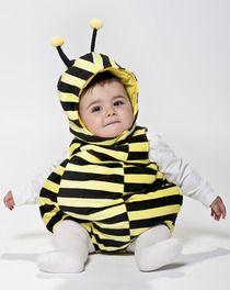 Fato de abelhinha com capuz, fecho éclair e botões entrepernas
