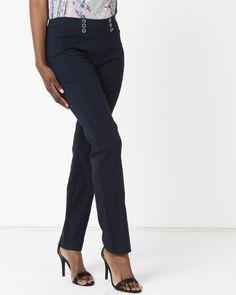 Queenspark Button Detail Stretch Woven Slacks Blue Buy Shoes, Slacks, Fashion Outfits, Fashion Trends, Fashion Online, Capri Pants, Buttons, Detail, Blue