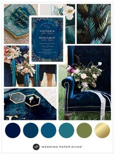 Gold and Blue Sapphire Inspired Wedding Theme | Wedding color palette | Wedding Paper Divas | Affiliate link |