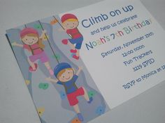 Rock wall climbing birthday invitations for by PaperMonkeyCompany, $1.00