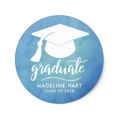 Watercolor | Casual Graduate Typography | Grad Hat Classic Round Sticker - graduation stickers grad sticker idea unique customize diy