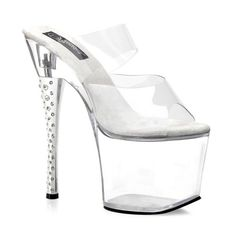7 Inch Heel Stripper Shoes Clear Rhinestone Heel Slide Size: 6 -- Learn more by visiting the image link.