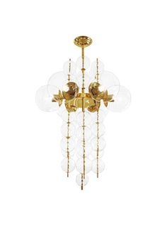 Brass chandelier featuring various sizes of clustered glass spheres.