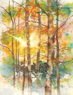 """""""My goal is to convey the same sense of wonder and beauty that I experienced while on location,"""" says Karlyn Holman. View a step-by-step demonstration of her watercolor painting Focus of Light on Fall Trees here. ~Cherie #howtopaint #watercolor #landscape"""