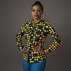 african fashion Own the room with this one of a kind African print shirt. It could be dressed up in a pencil skirt and heels for work or make it casual chic with a pair of jeans & flat African Fashion Ankara, African Inspired Fashion, Latest African Fashion Dresses, African Print Fashion, Africa Fashion, African Fashion Designers, Modern African Fashion, African Models, Fashion Prints