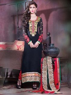 Pink Georgette Anarkali Suit With Resham And Zari Embroidery Work www.saree.com